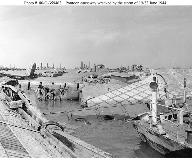 Wrecked pontoon causeway of one of the