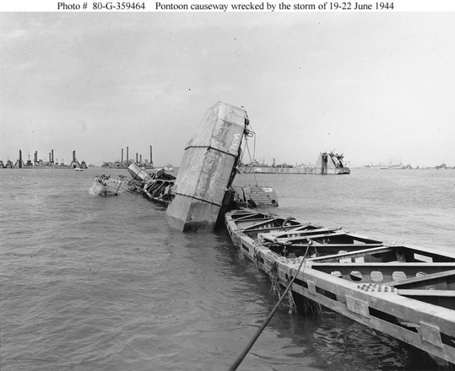 Wrecked pontoon causeway and other